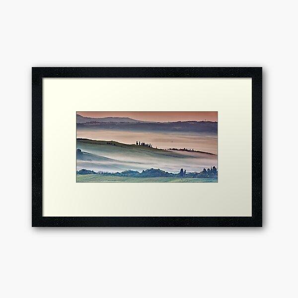 Val DOrcia, misty morning Framed Art Print
