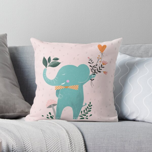 happy elephant illustration Throw Pillow