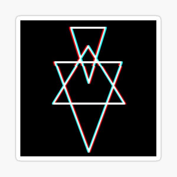 Hexagram geometry glitch stickers and prints Sticker