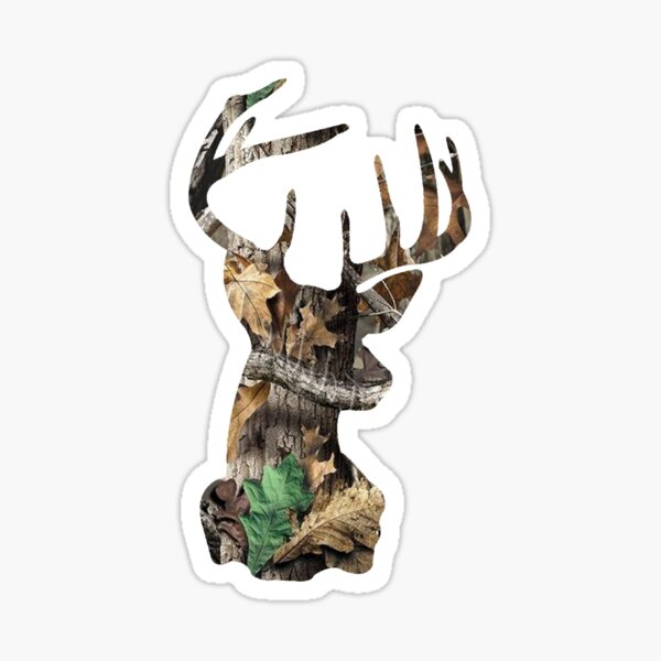 Camo Deer Head Sticker