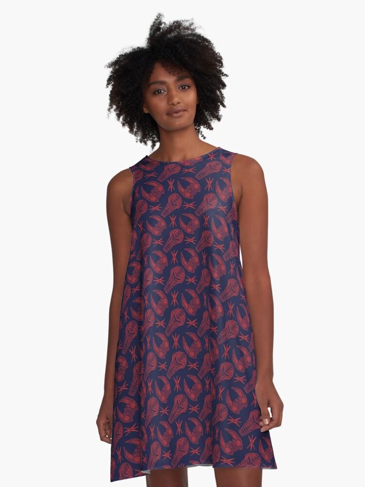 Battlescar - Blue/Red A-Line Dress Front