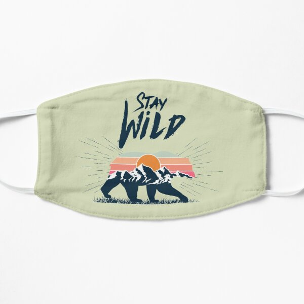 Walking bear silhouette with mountains landscape double exposure effect stay wild caption Flat Mask