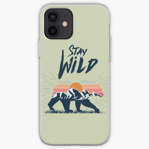 Walking bear silhouette with mountains landscape double exposure effect stay wild caption iPhone Soft Case