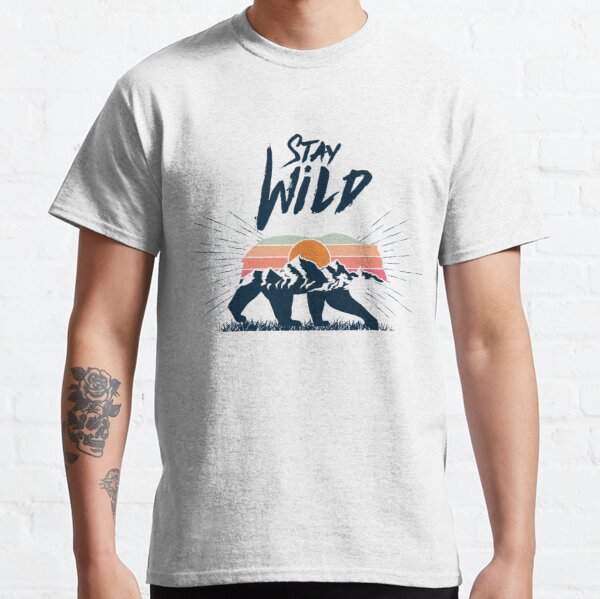 Walking bear silhouette with mountains landscape double exposure effect stay wild caption Classic T-Shirt