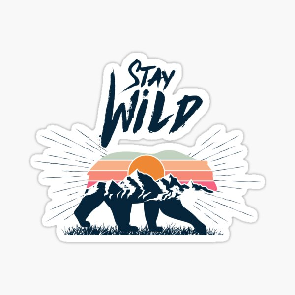 Walking bear silhouette with mountains landscape double exposure effect stay wild caption Sticker