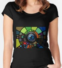 Camera Lens Graphic Design Women's Fitted Scoop T-Shirt