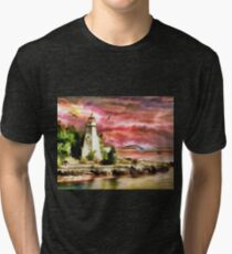 Water painting light house and birds Tri-blend T-Shirt