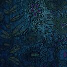 Vintage blue and mauve fabric by jennyjeffries