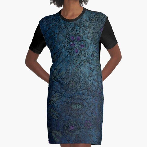 Vintage blue and mauve fabric Graphic T-Shirt Dress