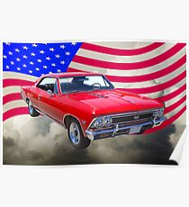 1966 Chevy Chevelle SS 396 and United States Flag Poster