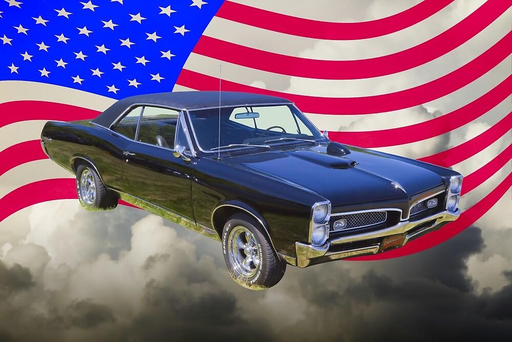 Black 1967 Pontiac GTO with American Flag by KWJphotoart