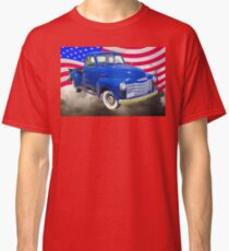 1947 Chevrolet Thriftmaster Pickup And American Flag Classic T-Shirt