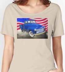 1947 Chevrolet Thriftmaster Pickup And American Flag Women's Relaxed Fit T-Shirt