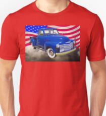 1947 Chevrolet Thriftmaster Pickup And American Flag T-Shirt