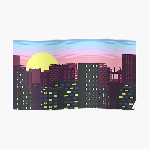 City Skyline Pixel Poster