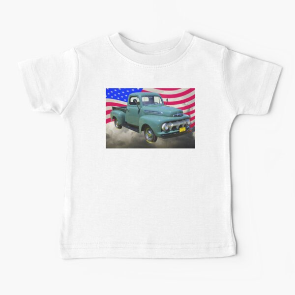 1951 ford F-1 Pickup Truck With American Flag Baby T-Shirt