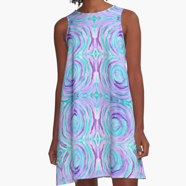 Watercolor Purple Turquoise Swirl Repeating Pattern A-Line Dress