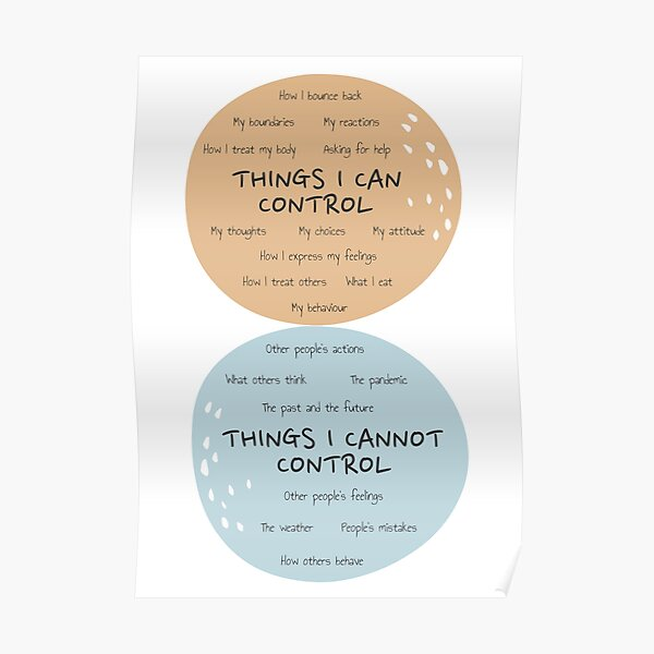 Circle of Control Poster Mental Health Therapy Counseling Wall Art Therapist Office Things I Can Control Psychotherapy Self Care Poster
