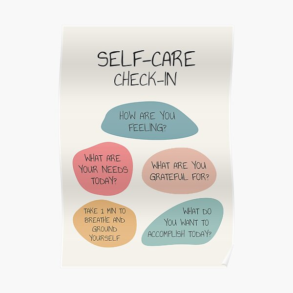 Self Care Check In Self Love Mental Health Wellbeing Therapist Office School Counselor Corner Wellness Art Therapy Tool Emotional Intelligence Self Awareness Poster