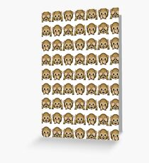 Monkey Evil Faces Emoji Collage Greeting Card