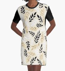 Black, White & Gold Fronds Graphic T-Shirt Dress