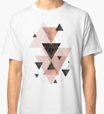 Geometric Triangles in blush and rose gold Classic T-Shirt