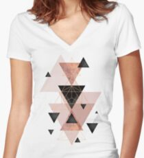 Geometric Triangles in blush and rose gold Women's Fitted V-Neck T-Shirt