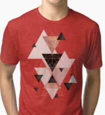 Geometric Triangles in blush and rose gold Tri-blend T-Shirt