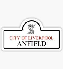Anfield-Bezirk, Liverpool-Verkehrsschild, Großbritannien Sticker
