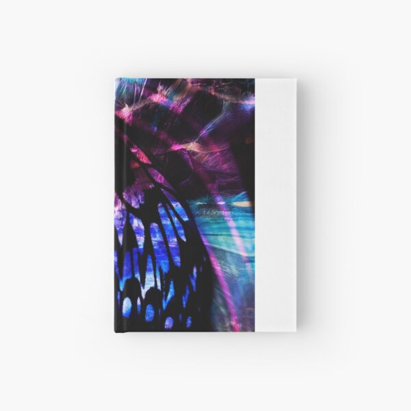 Digital Butterfly 4 in black and pink with hints of blue Hardcover Journal