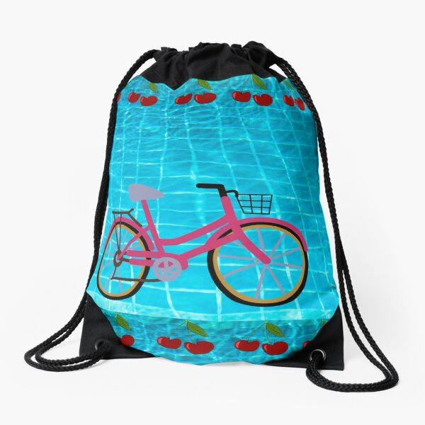 Funny Bicycle and Berries Drawstring Bag