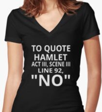 "To Quote Hamlet Act III Scene III Line 92, ""No"" Women's Fitted V-Neck T-Shirt"