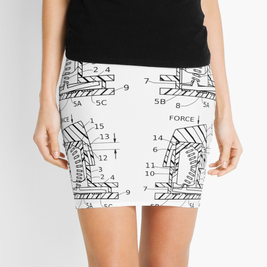 Buckling Spring Patent Drawing Mini Skirt Front