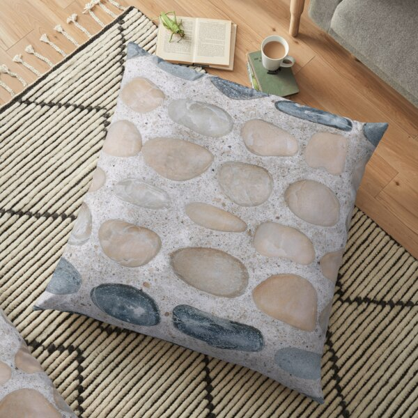 Pastel Pink and Blue Pebbles on the Sand - Colorful Stones Collection - Cool for the Summer SPA Floor Pillow