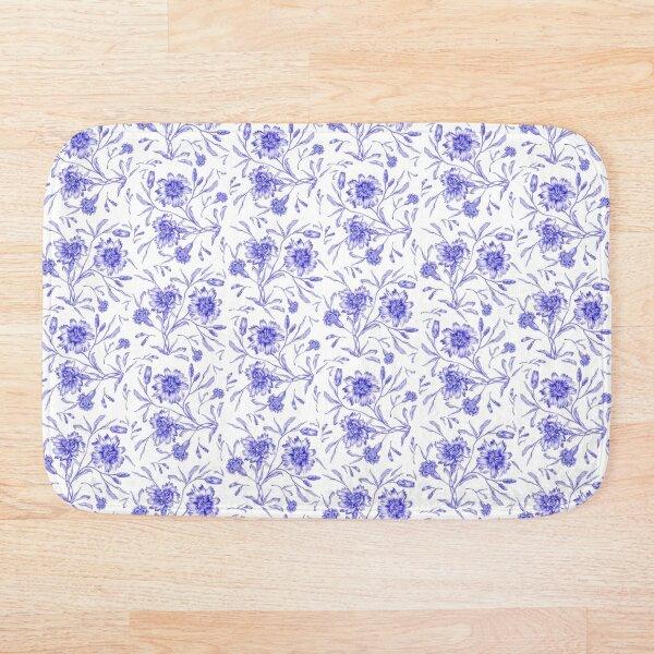 Claveles azules con hojas, patrón floral Alfombra de baño