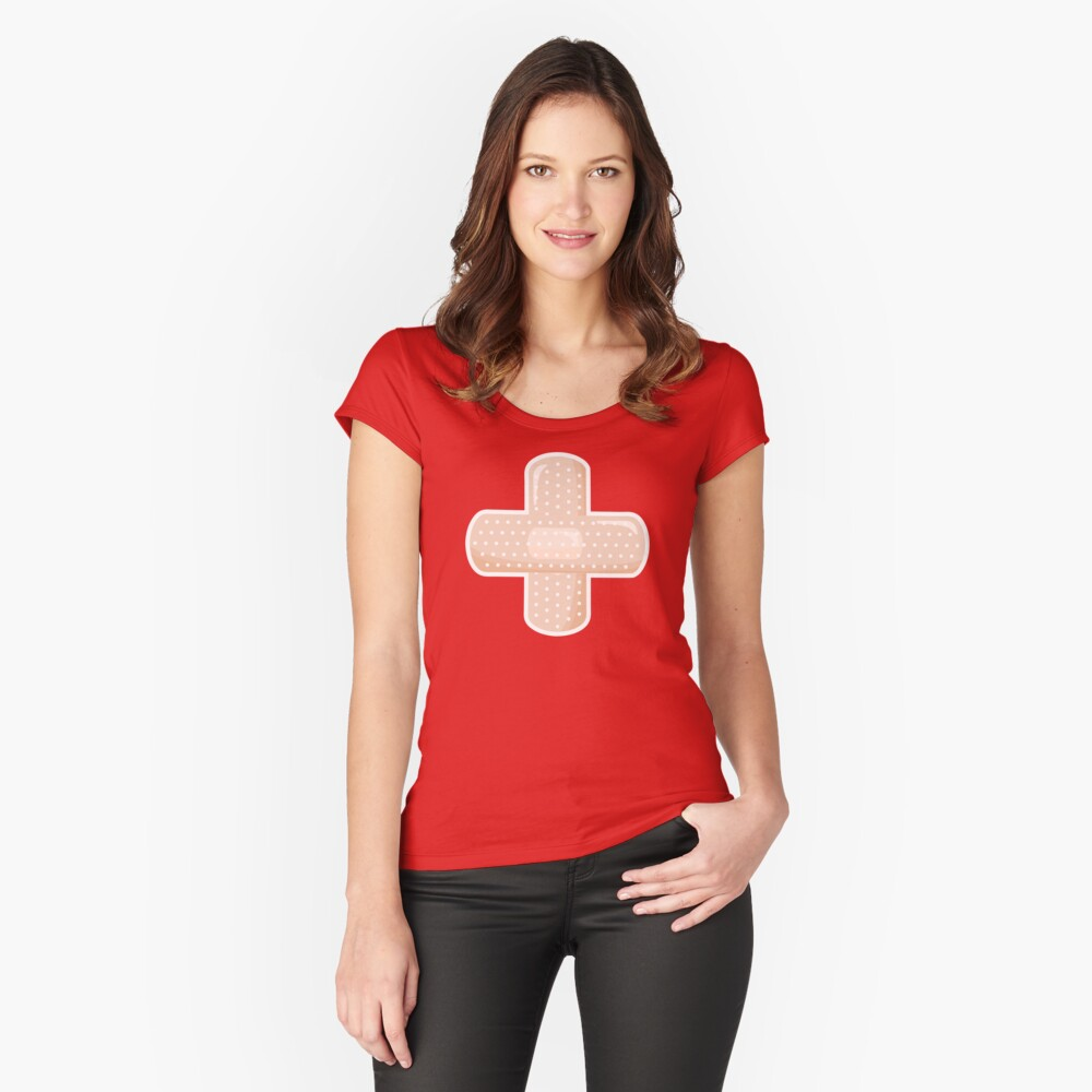 First Aid Plaster Fitted Scoop T-Shirt