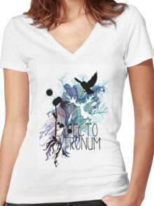 EXPECTO PATRONUM HEDWIG WATERCOLOUR 2 Women's Fitted V-Neck T-Shirt