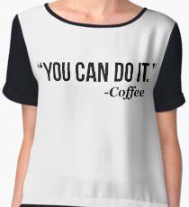 YOU CAN DO IT - Coffee - version 1 - black Women's Chiffon Top