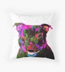 Staffordshire Bull Terrier Pop Art Portrait Throw Pillow