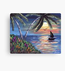 Palm Trees Sunset Ocean Painting Canvas Print