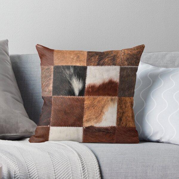 Checkered cowhide Throw Pillow