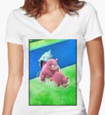 Pokemon Go Bang SlowBro Slowpoke Meme Women's Fitted V-Neck T-Shirt