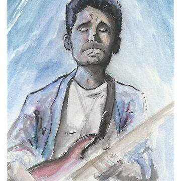 John Mayer in watercolor.  by EchoSoloArt