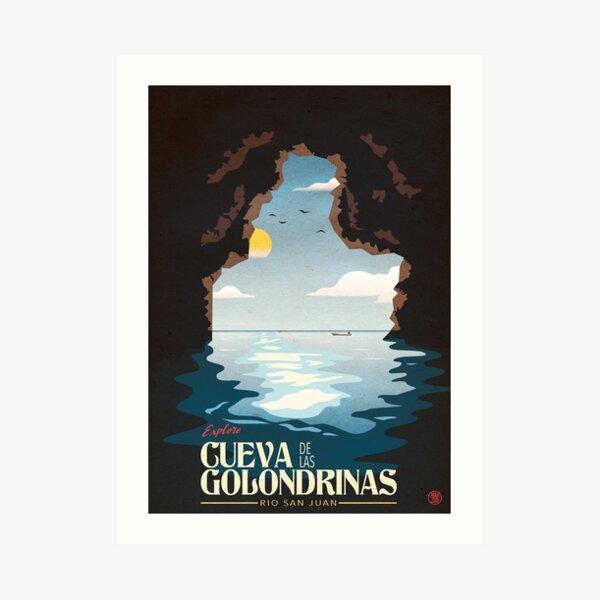 Cueva de las Golondrinas Vintage Poster Impression artistique