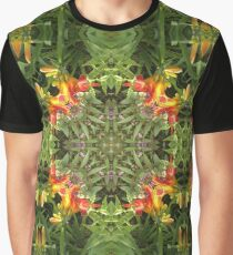Lily, by nature, garden, mandala, green, beautiful, flowers, summer, spring, colors, pattern Graphic T-Shirt