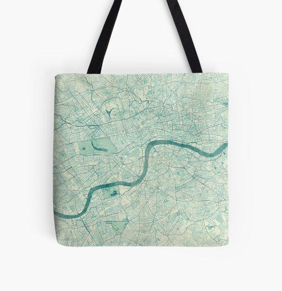London Map Blue Vintage All Over Print Tote Bag