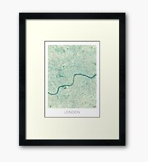London Map Blue Vintage Framed Print