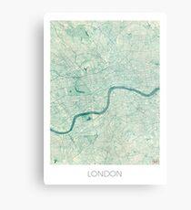 London Karte blau Vintage Metallbild