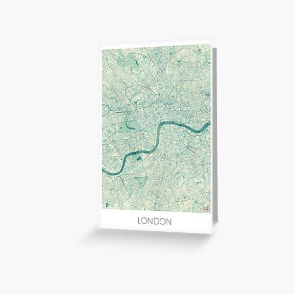 London Map Blue Vintage Grußkarte