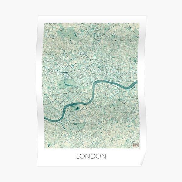 London Map Blue Vintage Poster
